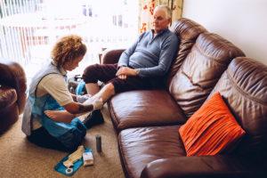 home health nurse, compression stockings, caregiver, in-home healthcare