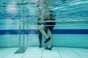 underwater view of aquatic therapy, warm water pool